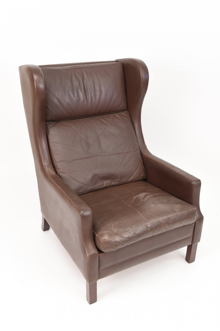 BORGE MOGENSEN STYLE CHOCOLATE LEATHER CHAIR