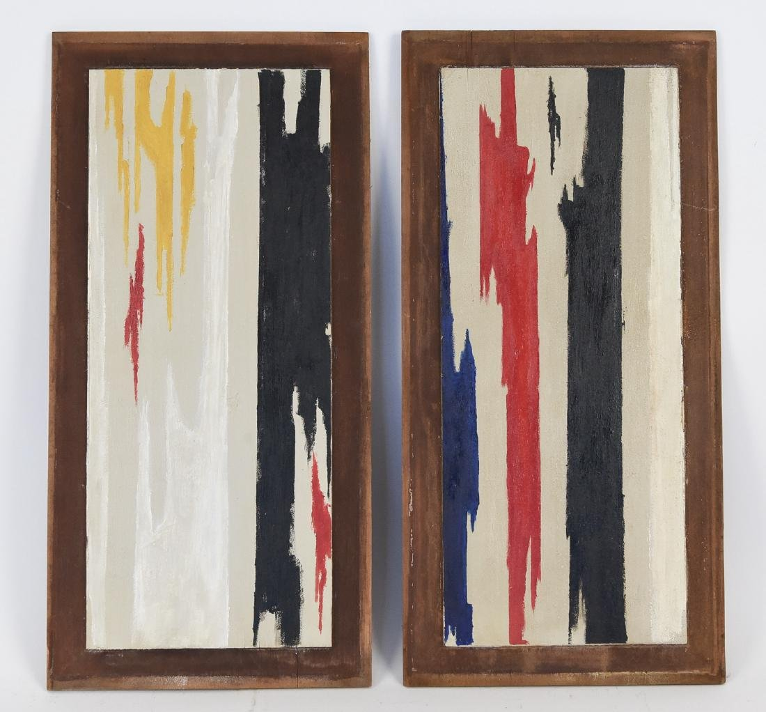 PAIR OF ABSTRACT OIL ON PANELS