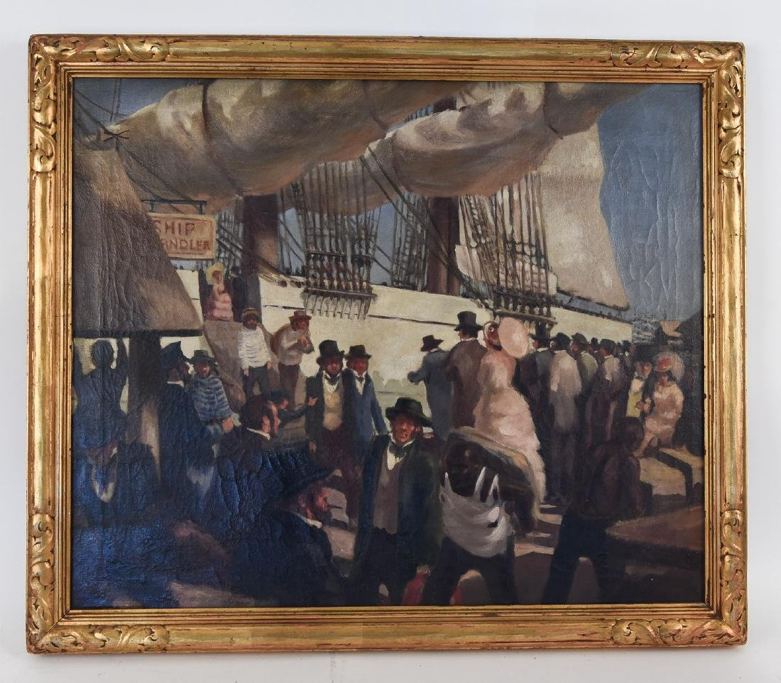 EARLY 20TH C. SHIP BOARDING PAINTING