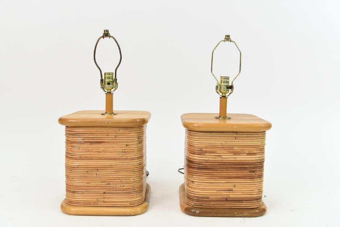 PAIR OF PAUL FRANKL STYLE RATTAN TABLE LAMPS
