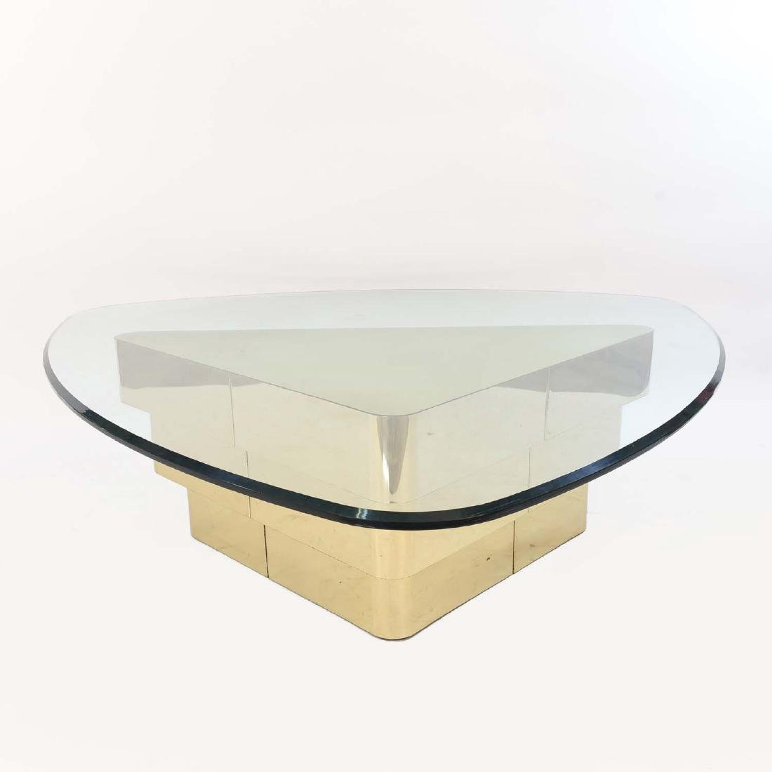 MID-CENTURY TIERED BRASS COFFEE TABLE