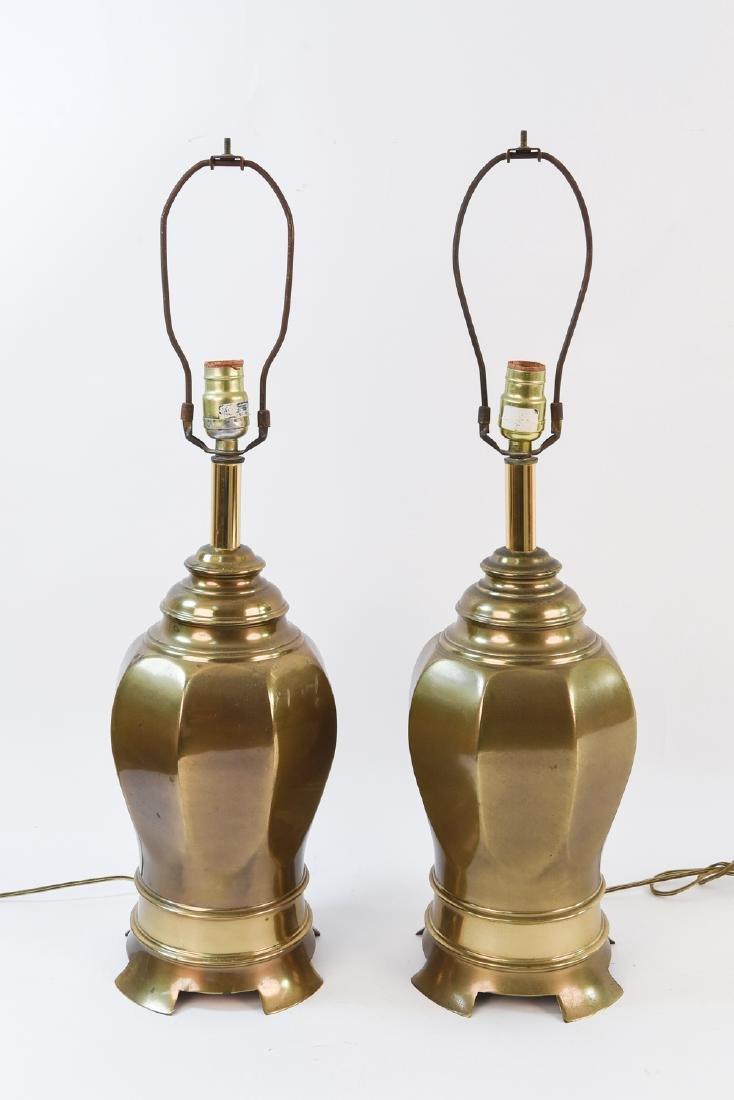 PAIR OF BRASS GINGER JAR SHAPE LAMPS