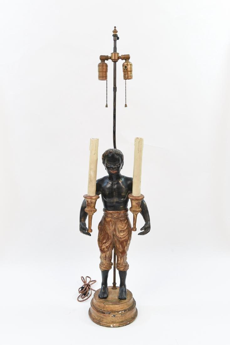 ITALIAN CARVED WOODEN BLACKAMOOR LAMP