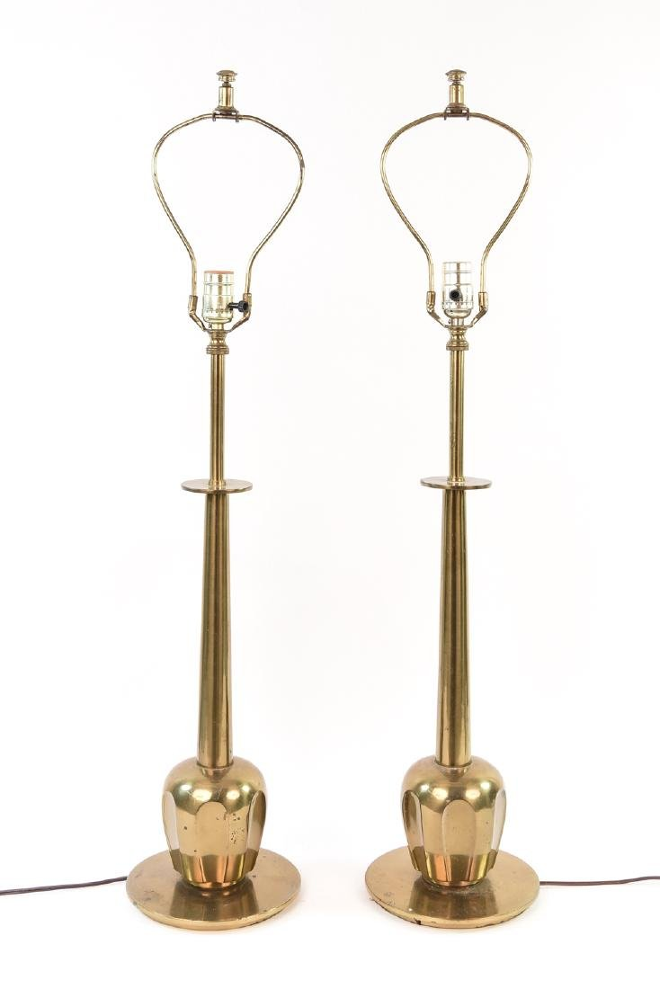 PAIR OF BRASS LAMPS MANNER OF PARZINGER