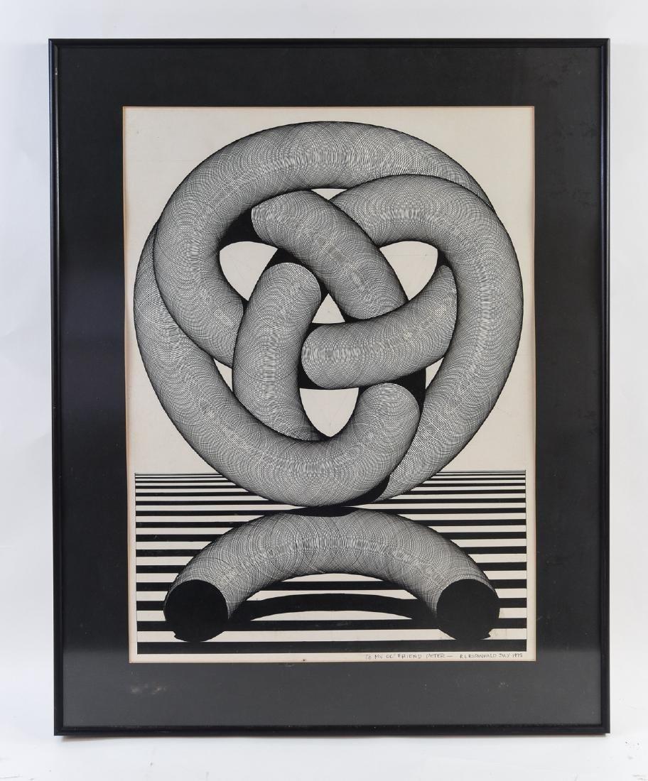 SIGNED R. L. ROSENWALD OP-ART PEN & INK DRAWING