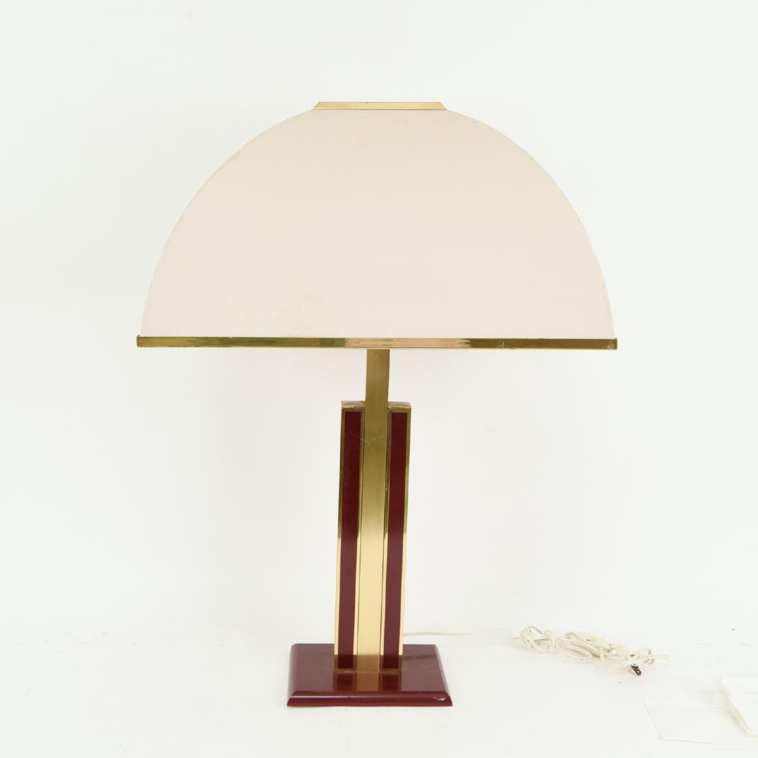 ITALIAN BRASS & WOOD TABLE LAMP