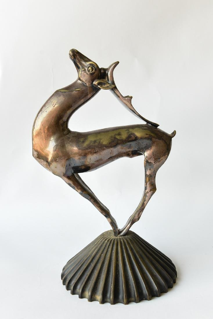 FRENCH ART DECO SILVER BRONZE GAZELLE SCULPTURE