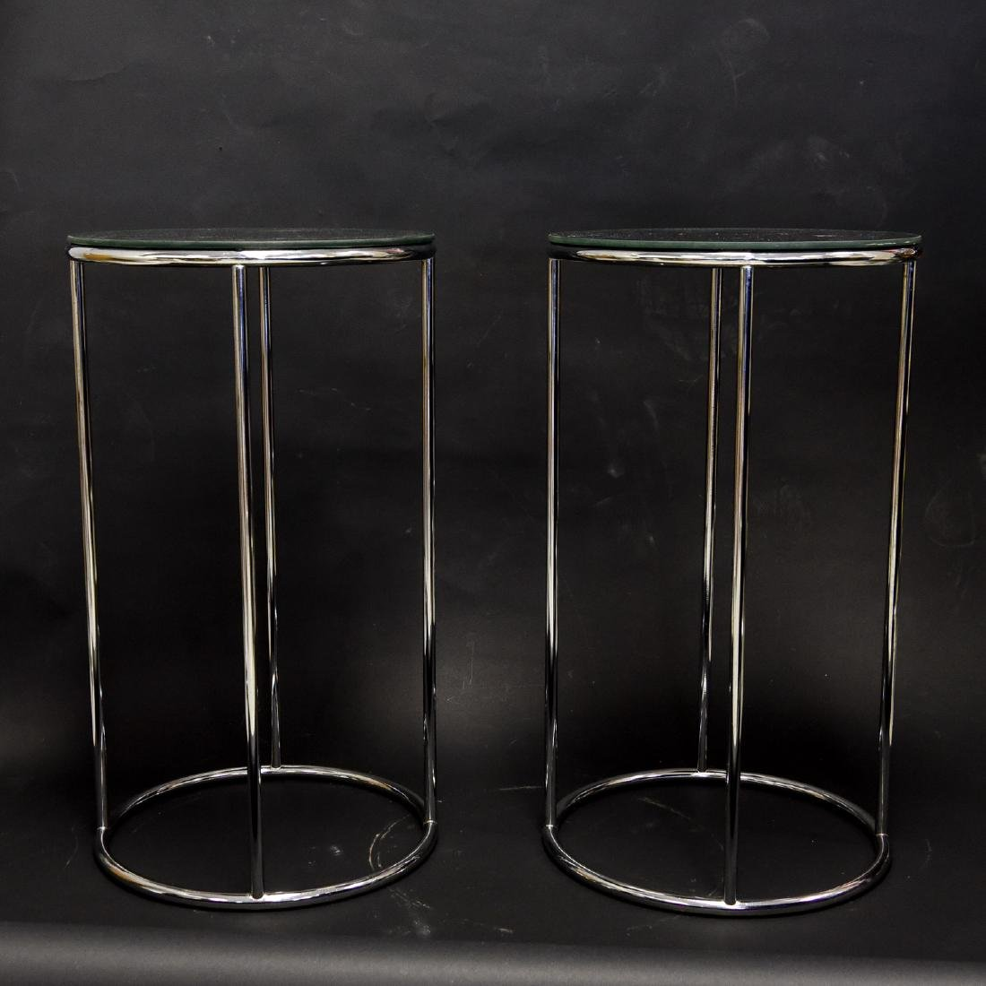 PAIR OF MIRROR TOP CHROME SIDE TABLES