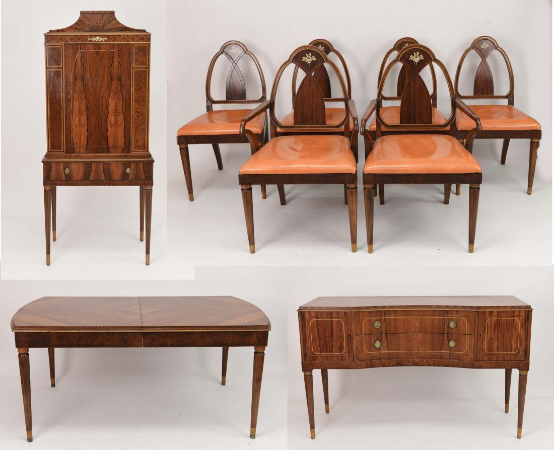 ART DECO ROSEWOOD DINING SUITE TABLE, CHAIRS, ETC.