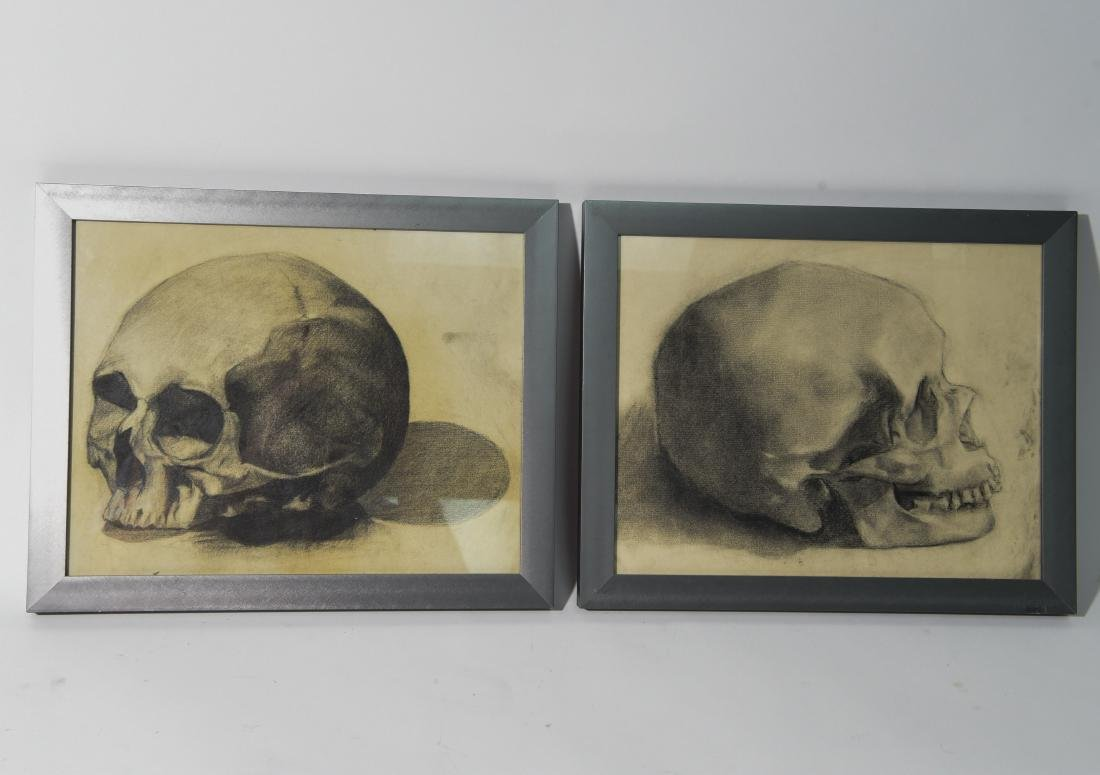 PAIR OF EARLY 20TH C. CHARCOAL SKULL STUDIES
