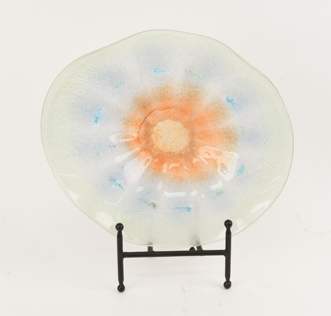 LUIGI MELLARA SCAVO MURANO ART GLASS BOWL SIGNED