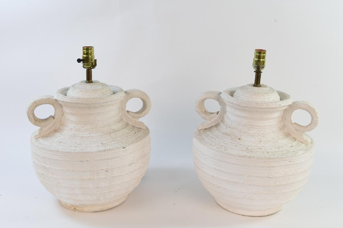 PAIR OF CERAMIC DOUBLE HANDLE URN STYLE LAMPS