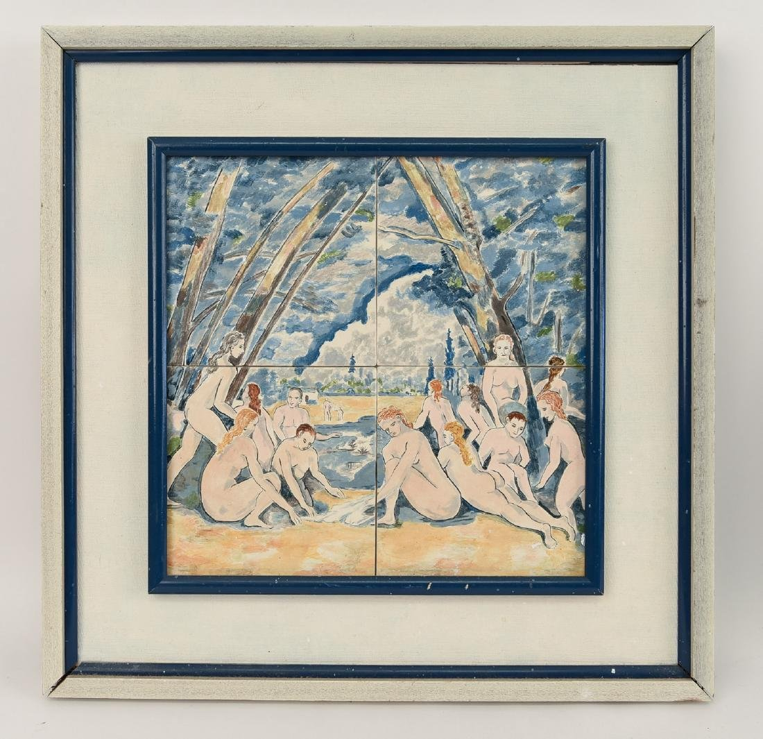 PAINTED TILES NUDE BATHERS