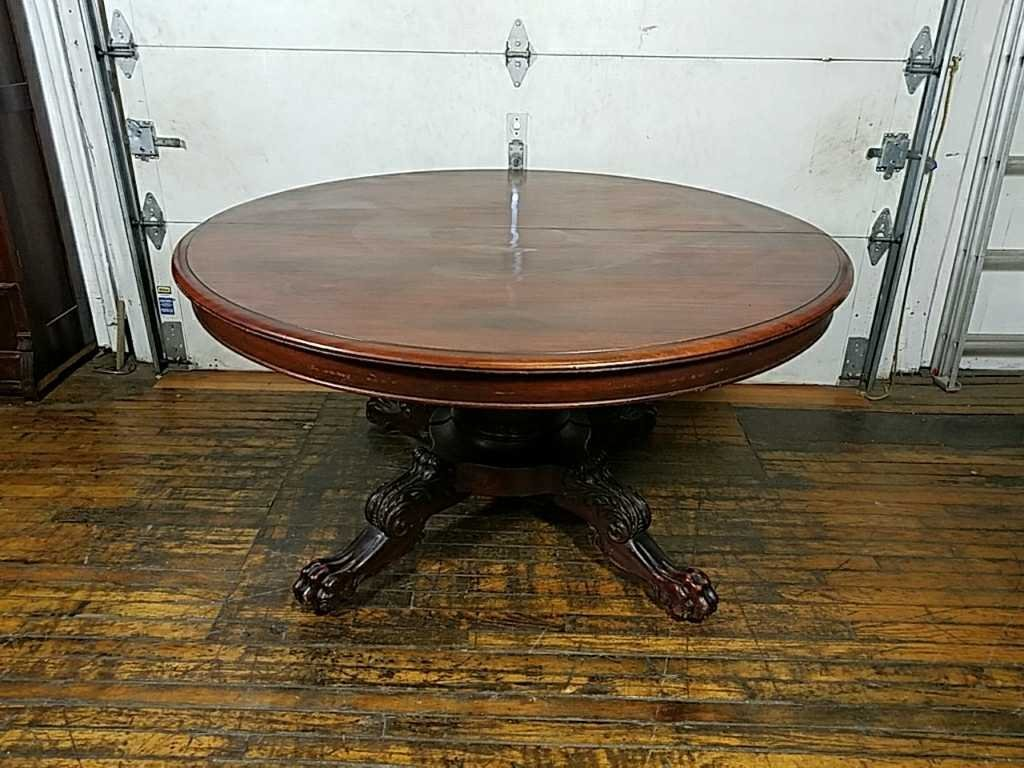 MAHOGANY CLAW FOOT DINING TABLE