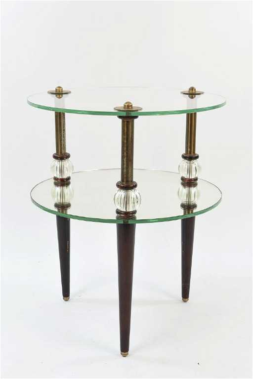 TWO TIER GLASS SIDE TABLE - Two tier glass side table