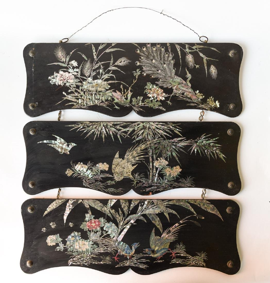 VICTORIAN CHINOISERIE LACQUERED PAPER MACHE PANELS
