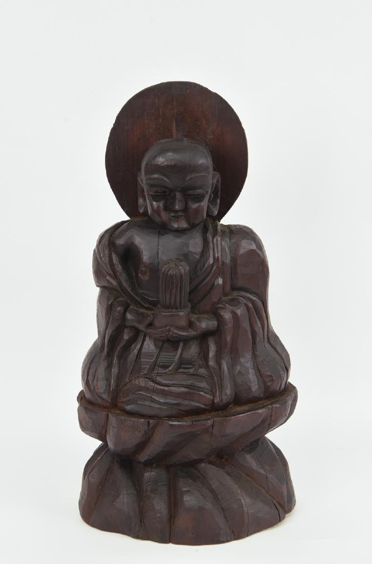 CHINESE CARVED WOODEN BUDDHA SCULPTURE