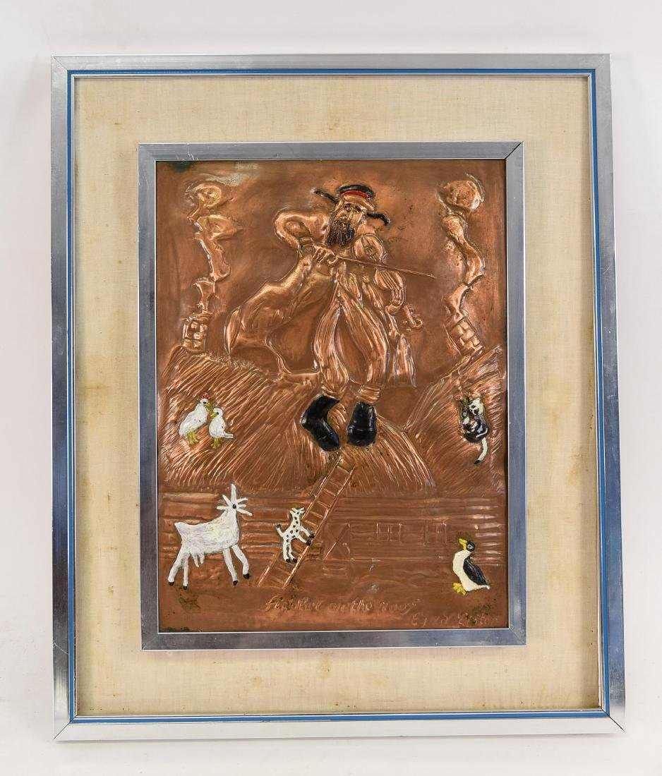 EZRA LIPTON FIDDLER ON THE ROOF COPPER RELIEF