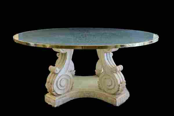 ATTR. STEVE CHASE GLASS DINING TABLE