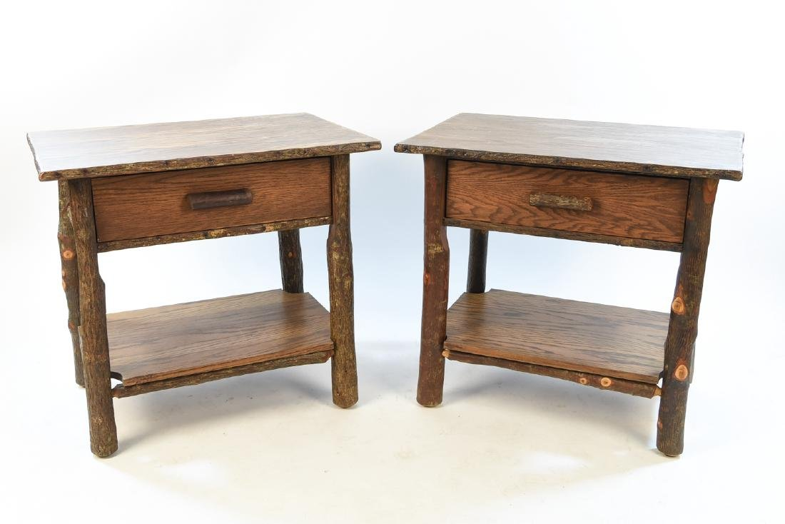 Lovely PAIR OF OLD HICKORY RUSTIC SIDE TABLES