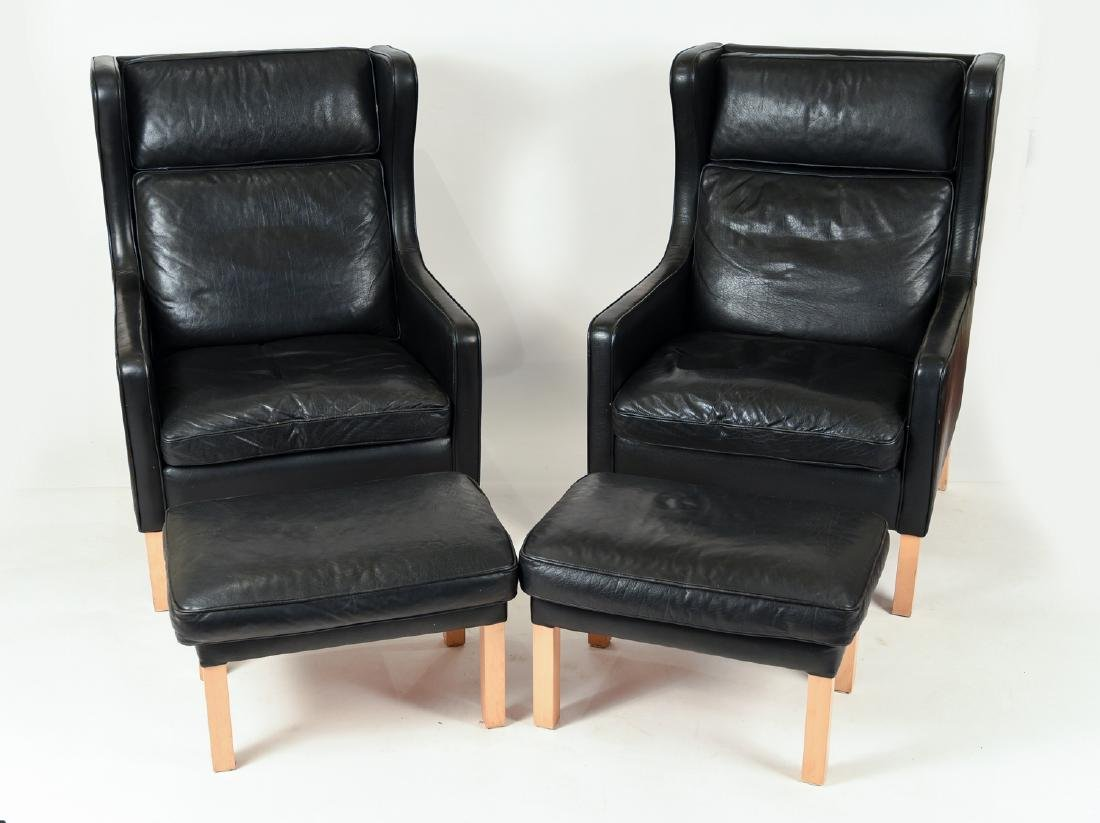 PAIR BORGE MOGENSEN STYLE LOUNGE CHAIRS & OTTOMANS