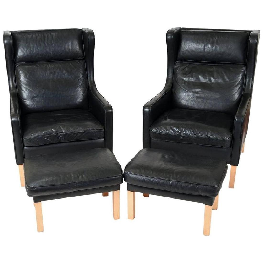 PAIR BORGE MOGENSEN STYLE LOUNGE CHAIRS & OTTOMANS - 2