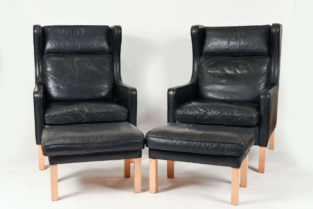 PAIR BORGE MOGENSEN STYLE LOUNGE CHAIRS & OTTOMANS - 3
