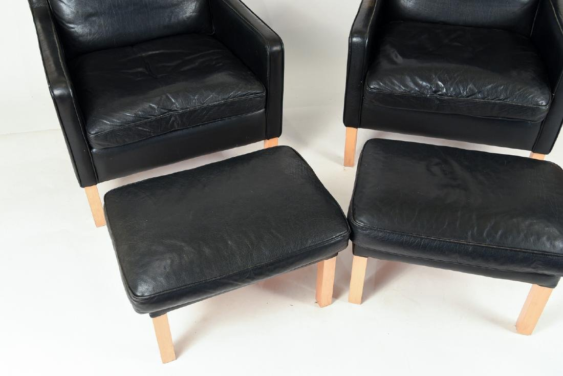 PAIR BORGE MOGENSEN STYLE LOUNGE CHAIRS & OTTOMANS - 4