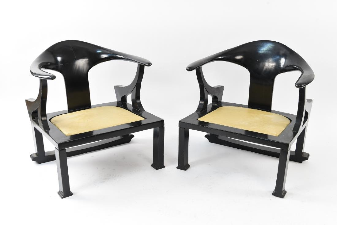 MANNER OF JAMES MONT LAQUERED ARM CHAIRS