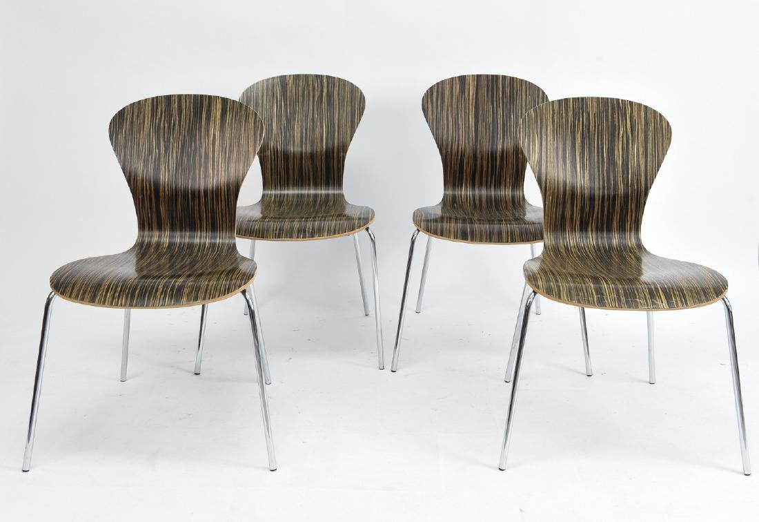 (4) KNOLL STACKING ROSEWOOD CHAIRS