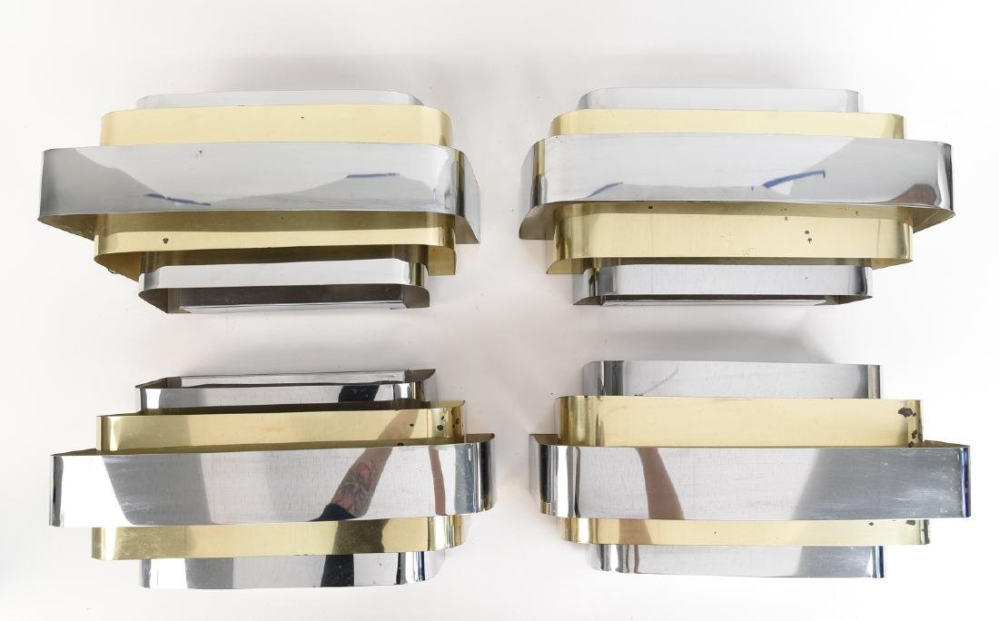 (4) PAUL EVANS STYLE CHROME AND BRASS SCONCES