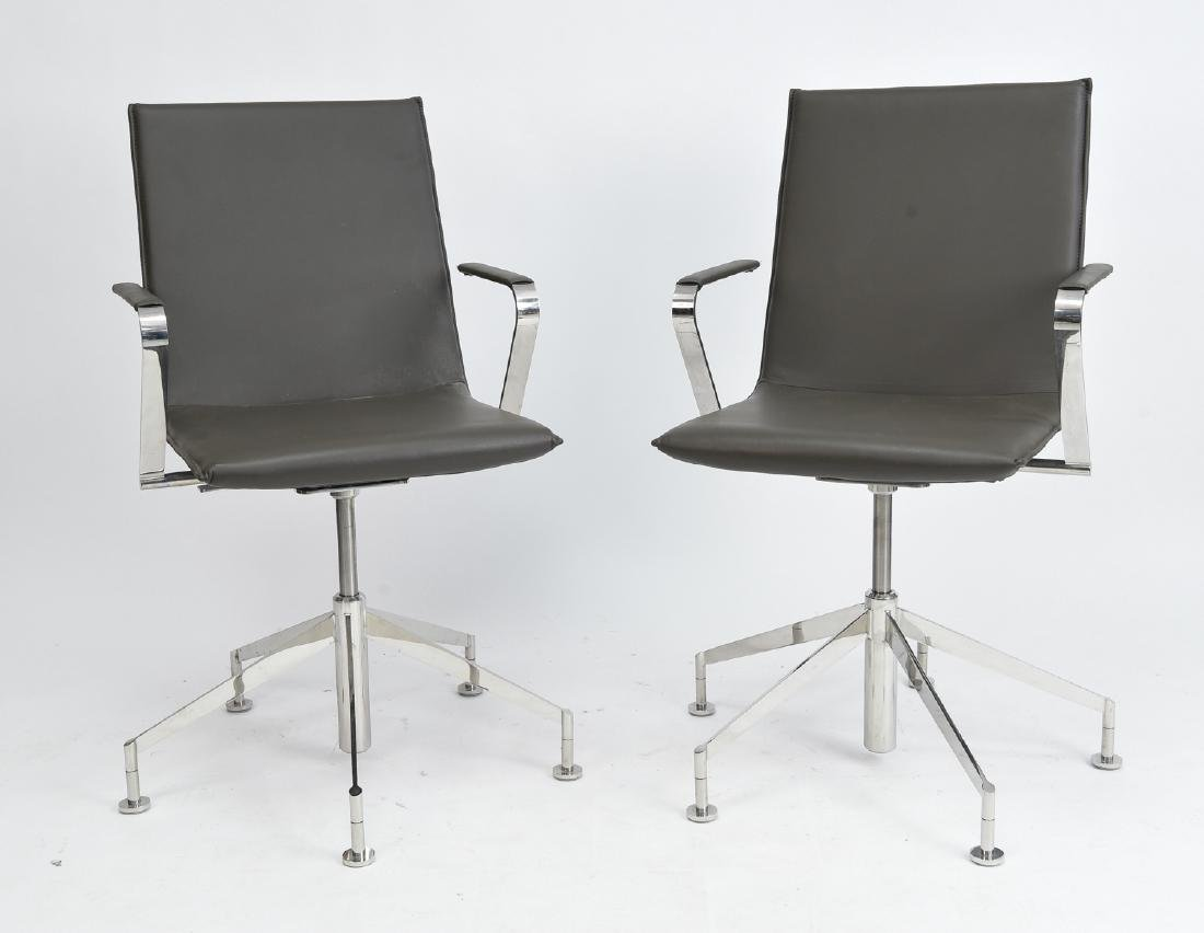 PAIR OF DAVIS CHROME AND GREY LEATHER CHAIRS