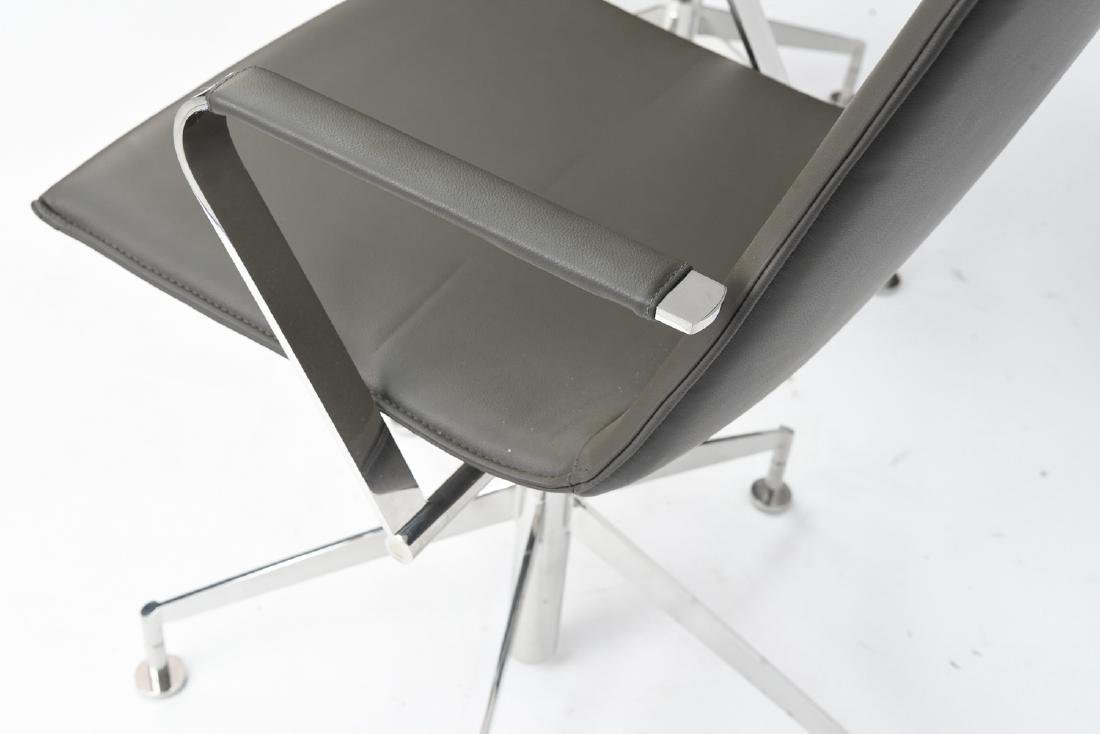 PAIR OF DAVIS CHROME AND GREY LEATHER CHAIRS - 4