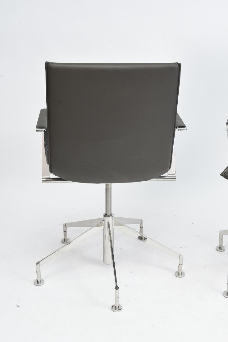 PAIR OF DAVIS CHROME AND GREY LEATHER CHAIRS - 8
