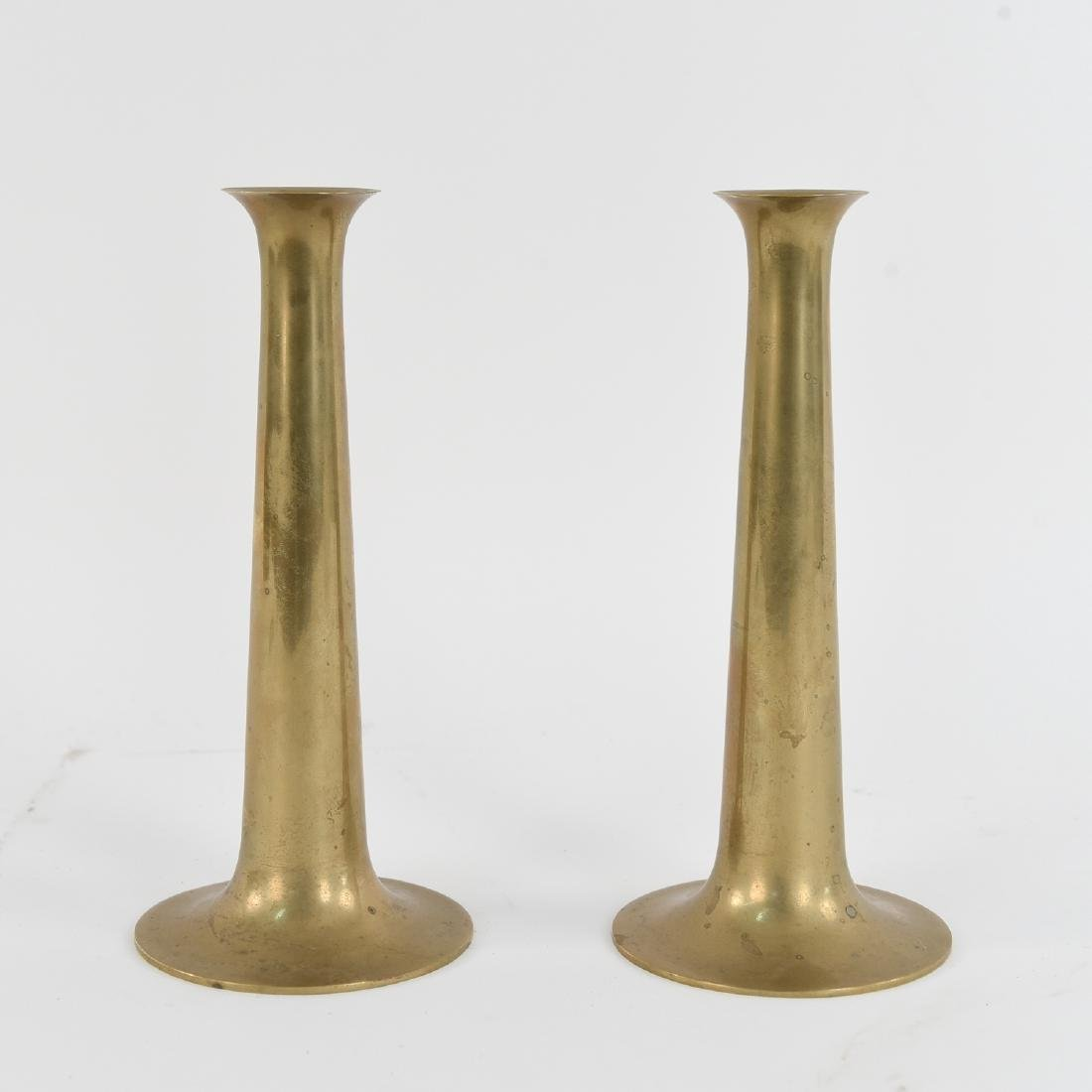 PAIR OF TORBEN ORSKOV BRASS TRUMPET CANDLESTICKS
