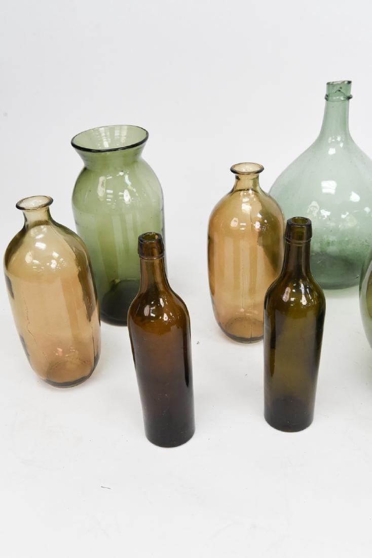 LARGE GLASS BOTTLE VASE GROUPING - 10