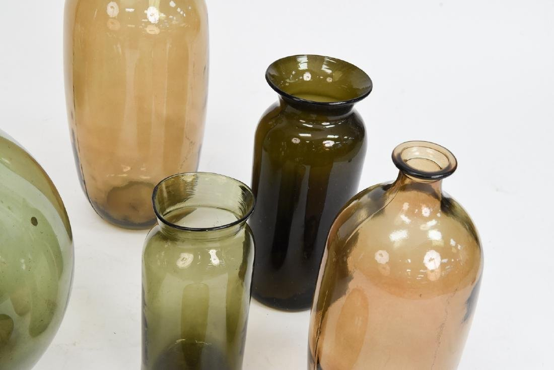 LARGE GLASS BOTTLE VASE GROUPING - 4