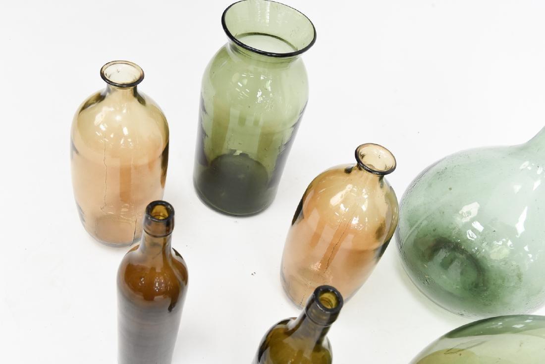 LARGE GLASS BOTTLE VASE GROUPING - 7