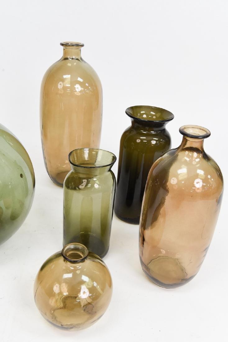 LARGE GLASS BOTTLE VASE GROUPING - 8