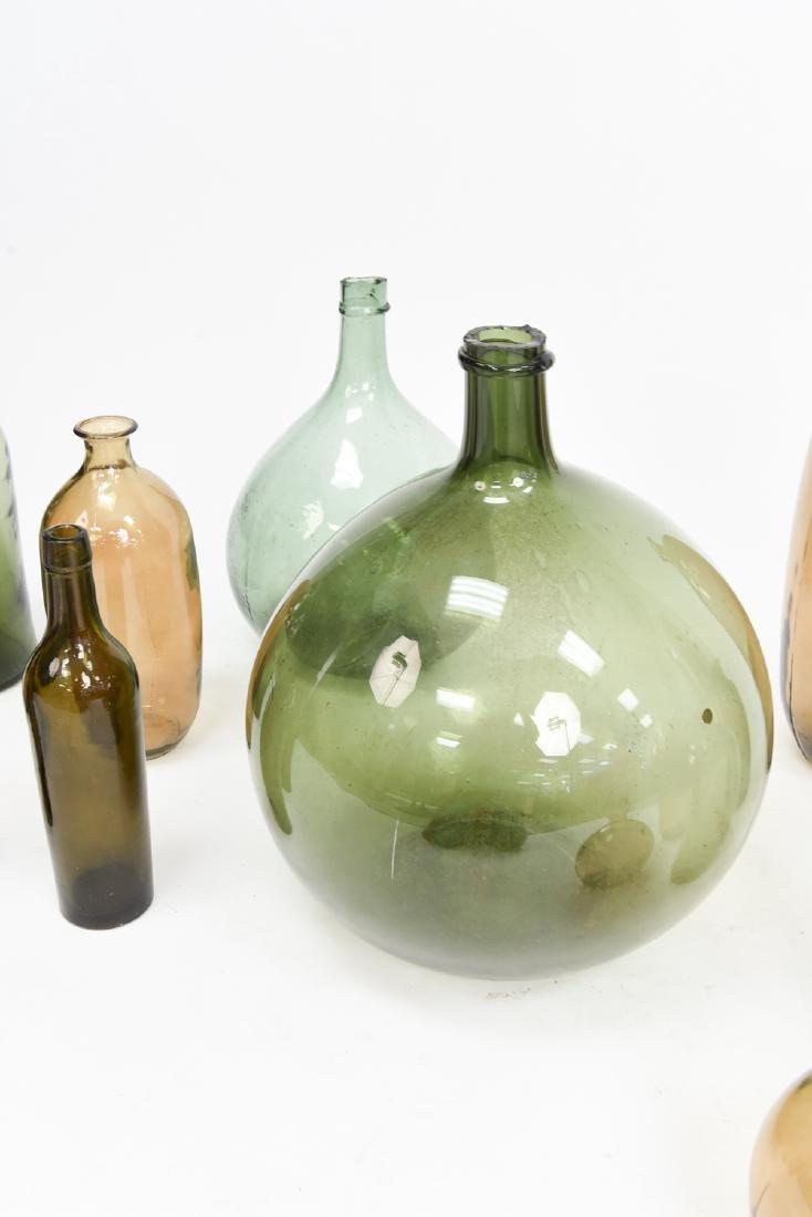 LARGE GLASS BOTTLE VASE GROUPING - 9