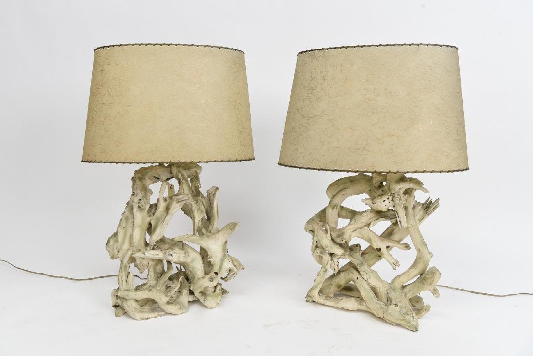 PAIR CYPRUS WOOD FORM TABLE LAMPS