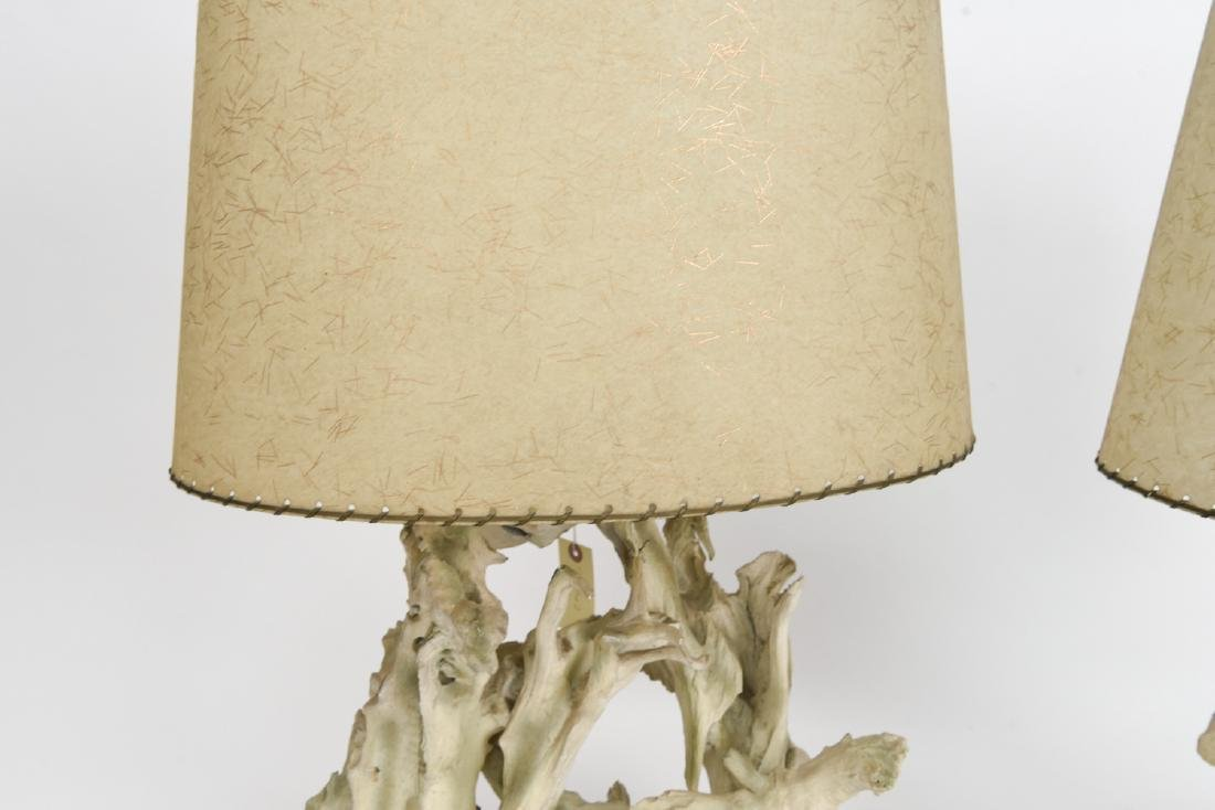PAIR CYPRUS WOOD FORM TABLE LAMPS - 8