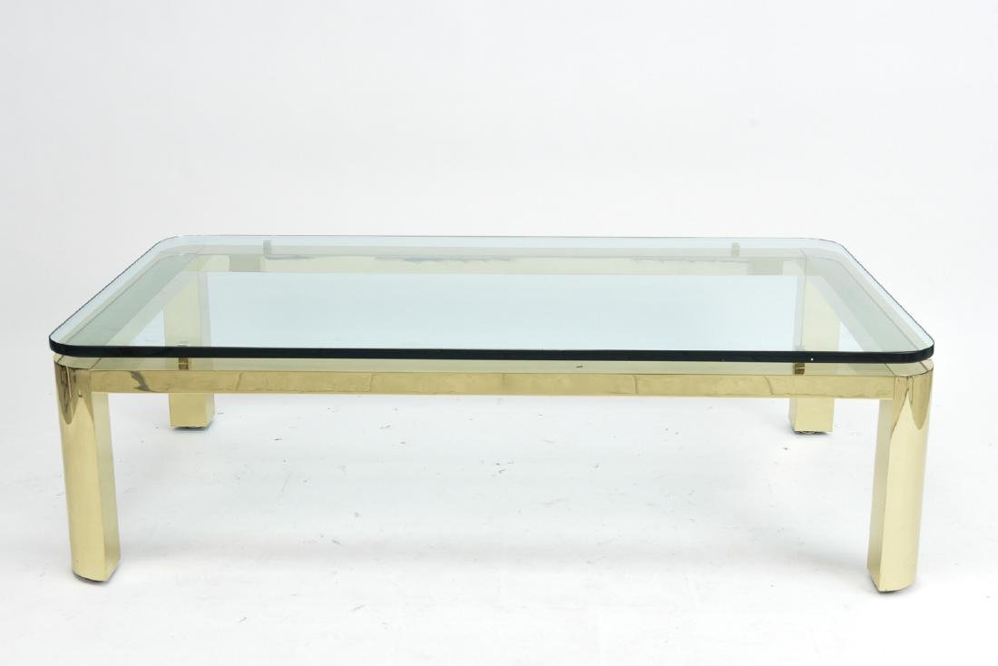 BRASS & GLASS TOP COFFEE TABLE