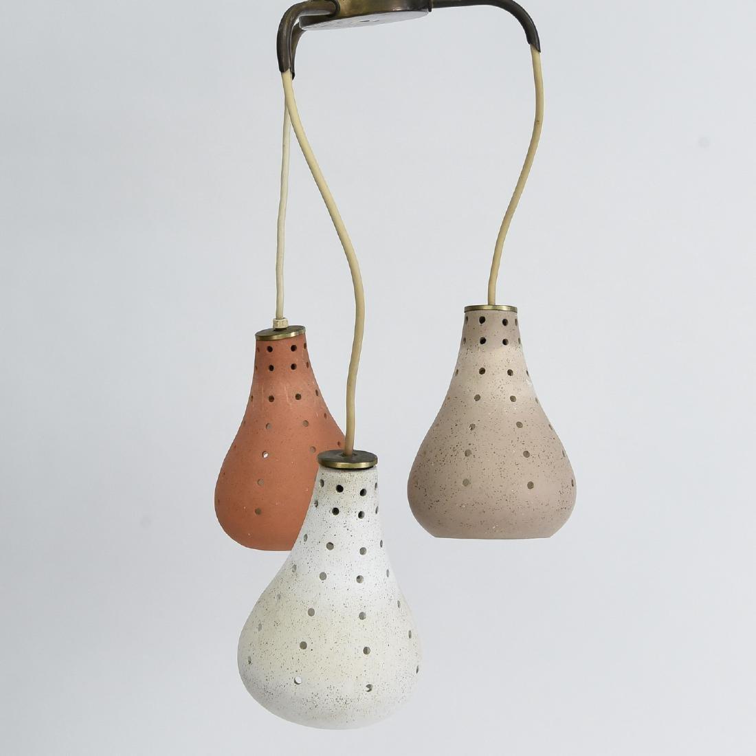 CERAMIC THREE LIGHT HANGING PENDANT LAMP