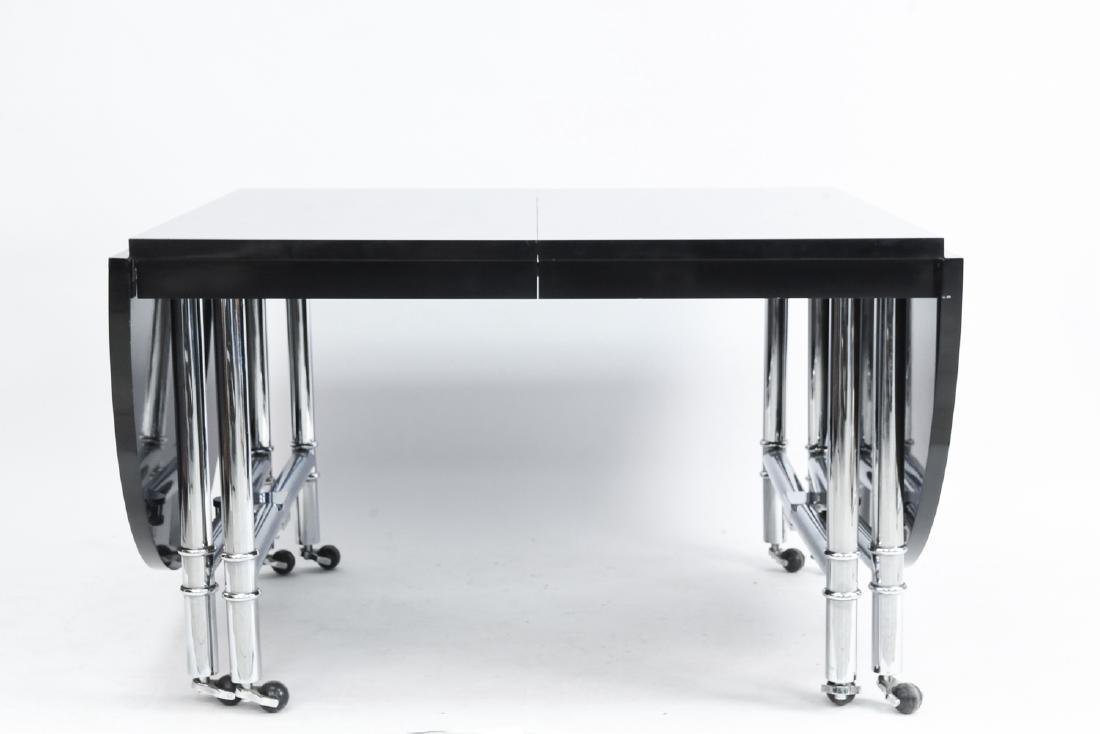 CHROME & BLACK LACQUER DROP LEAF DINING TABLE