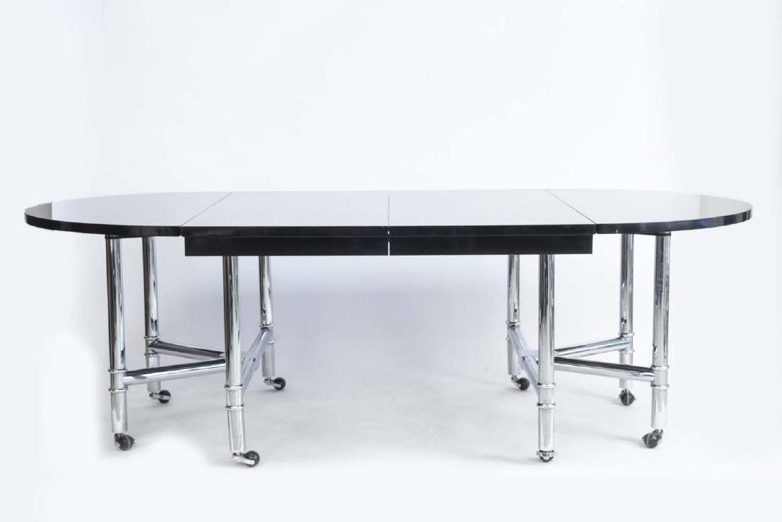 CHROME & BLACK LACQUER DROP LEAF DINING TABLE - 7