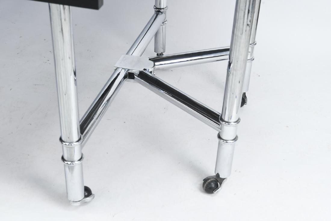 CHROME & BLACK LACQUER DROP LEAF DINING TABLE - 8