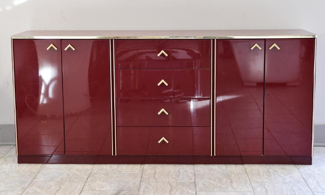 ITALIAN RED LACQUER AND BRASS SIDEBOARD/DRESSER