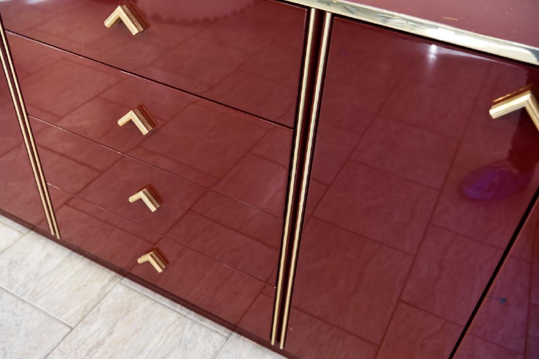 ITALIAN RED LACQUER AND BRASS SIDEBOARD/DRESSER - 2