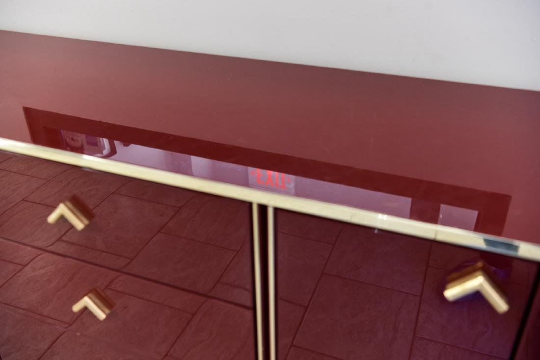ITALIAN RED LACQUER AND BRASS SIDEBOARD/DRESSER - 3